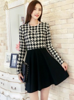 Dress Houndstooth Lengan Panjang Jual Model Terbaru Murah