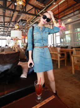 DRESS JEANS KOREA CANTIK