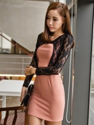 MINI DRESS KOREA KOMBINASI BROKAT