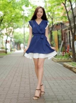DRESS KOREA KERAH V TERBARU