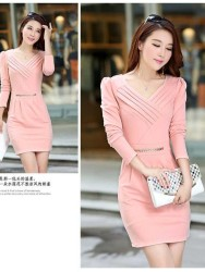 DRESS KOREA LENGAN PANJANG MODIS ONLINE PINK