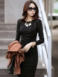 DRESS WANITA PANJANG HITAM SLIM FIT
