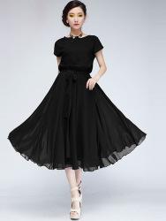 LONG DRESS SIFON WANITA HITAM TERBARU