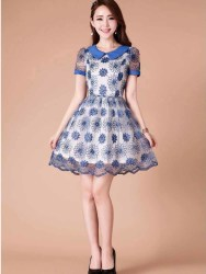 MINI DRESS BUNGA LUCU MODEL TERBARU BIRU