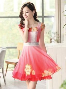 DRESS KOREA MOTIF BUNGA 2015