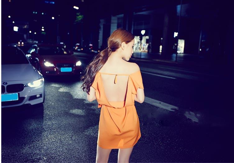 DRESS WANITA WARNA ORANGE TERBARU KOREA