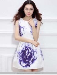 DRESS MINI PUTIH GAMBAR BUNGA CANTIK FASHION