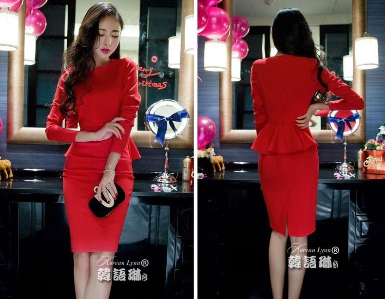 DRESS NATAL WARNA MERAH MODERN 2015 KOREA