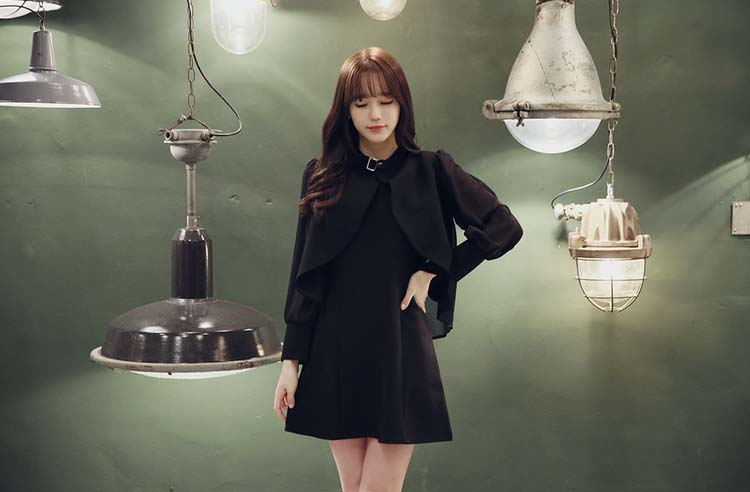 DRESS WARNA HITAM IMPORT TERBARU 2016 KOREA