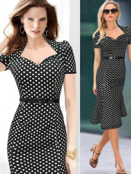 JUAL DRESS MODEL POLKADOT ONLINE TERBARU