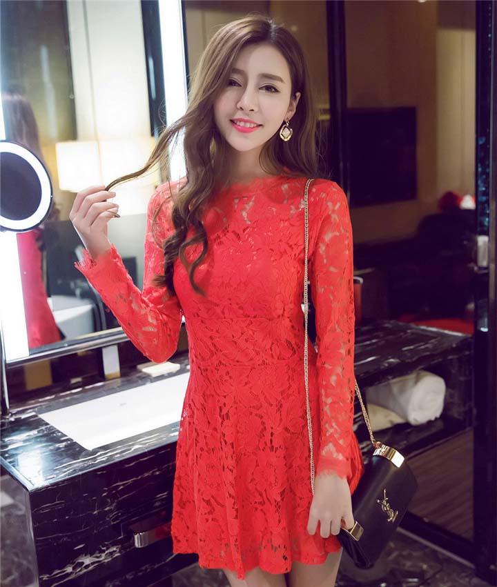 MINI DRESS NATAL LENGAN PANJANG CANTIK KOREA