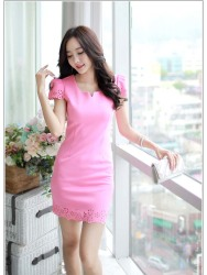 MINI DRESS PINK CANTIK IMPORT 2016 ELEGANT
