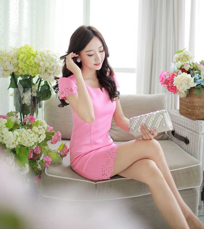 MINI DRESS PINK CANTIK IMPORT 2016 KOREA