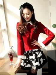 DRESS MERAH LENGAN PANJANG LUCU 2015 KOREA