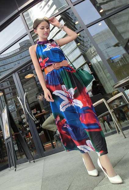 LONG DRESS LENGAN BUNTUNG MOTIF BUNGA 2015