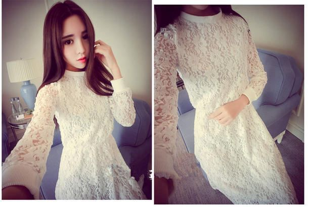 DRESS KOREA RENDA PUTIH CANTIK 2016 TERBARU