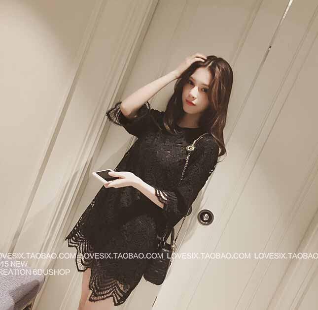 DRESS BROKAT HITAM CANTIK 2016 KOREA