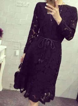 DRESS HITAM MOTIF BUNGA BROKAT 2016