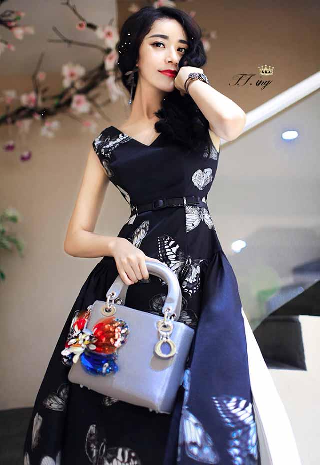 DRESS LENGAN BUNTUNG MOTIF 2016 KOREA