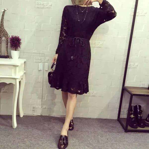 JUAL DRESS HITAM MOTIF BUNGA BROKAT 2016