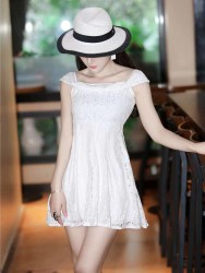 JUAL MINI DRESS ELEGANT PUTIH TERBARU
