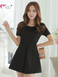 JUAL MINI DRESS HITAM SIMPLE ELEGANT 2016