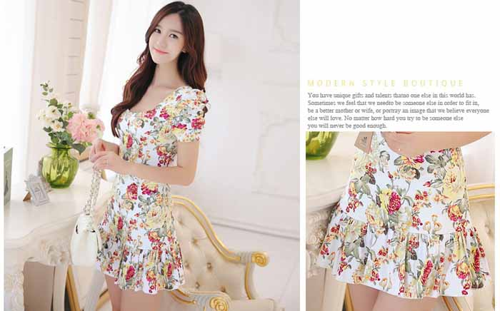 MINI DRESS MOTIF BUNGA TERBARU 2016 FASHION