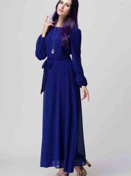 Baju Gamis Biru Simple Korea 2016 Jual Model Terbaru