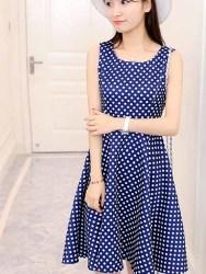DRESS LENGAN BUNTUNG POLKADOT CANTIK 2016 KOREA