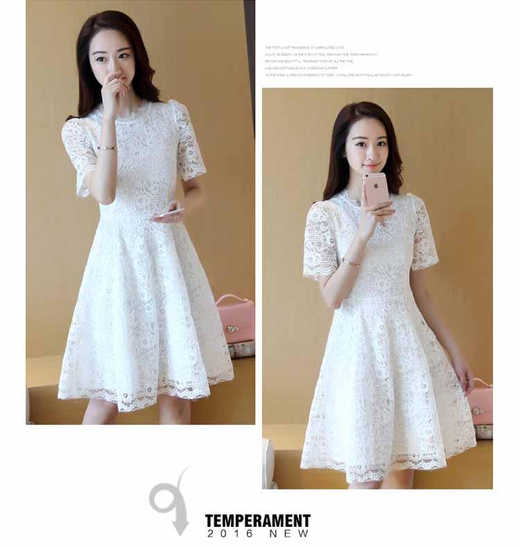 DRESS LENGAN PENDEK BROKAT PUTIH TERBARU KOREA