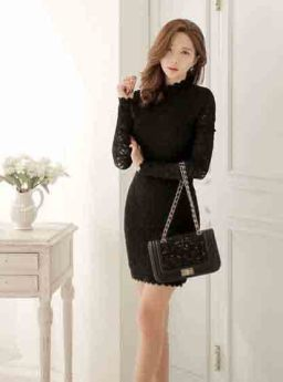 DRESS MINI LENGAN PANJANG HITAM ELEGANT