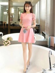 DRESS PINK RENDA CANTIK KOREA 2016