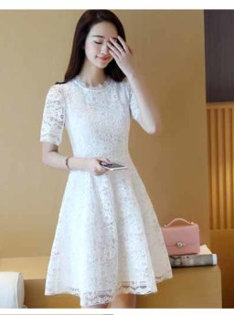 Dress Lengan Pendek Brokat Putih Terbaru