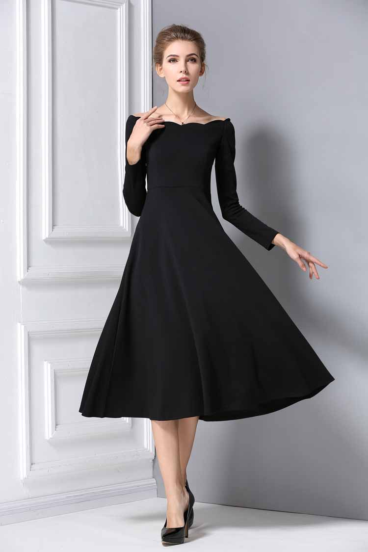 Long dress hitam murah