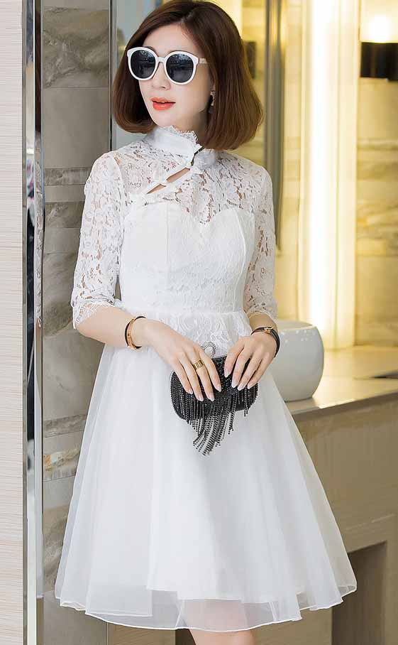 JUAL DRESS PESTA BROKAT PUTIH ELEGANT 2016