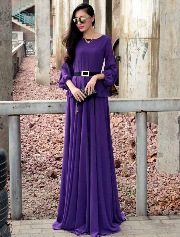 JUAL LONG DRESS UNGU ELEGANT 2016