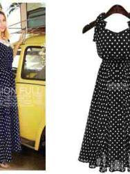 long-dress-hitam-polkadot-cantik-1
