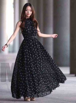 LONG DRESS HITAM POLKADOT SIMPLE