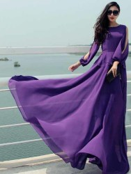 LONG DRESS UNGU ELEGANT 2016 KOREA