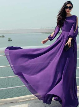 LONG DRESS UNGU ELEGANT 2016