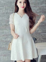 MINI DRESS PUTIH LENGAN PENDEK SIMPLE 2016
