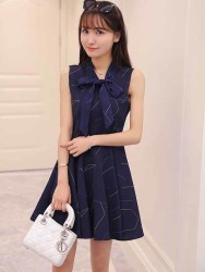 JUAL DRESS BIRU PITA CANTIK KOREA 2016