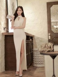 LONG DRESS PESTA APRICOT ELEGANT 2016 FASHION