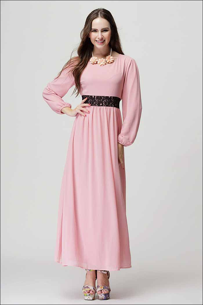 gamis-pink-cantik-import-terbaru-korea