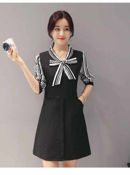 DRESS HITAM STRIPES PITA CANTIK 2016