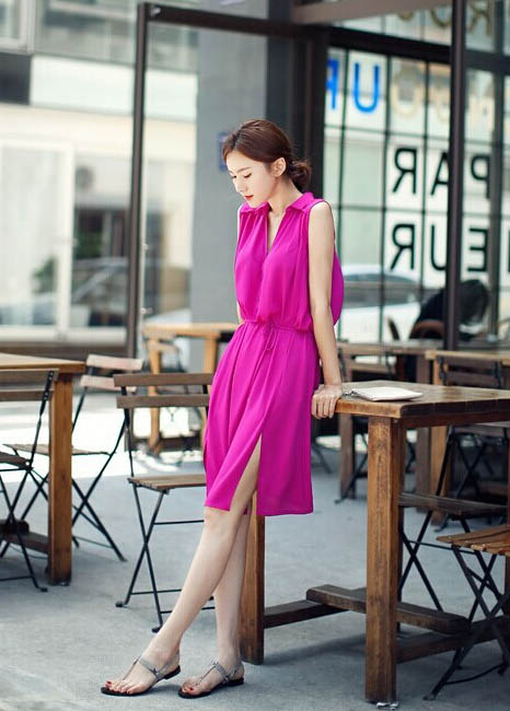 dress-lengan-buntung-simple-cantik