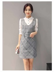 dress-putih-abu-korea-lengan-panjang