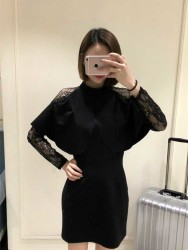 DRESS HITAM KOMBINASI RENDA ELEGANT 2017 FASHION
