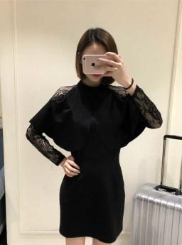 DRESS HITAM KOMBINASI RENDA ELEGANT 2017