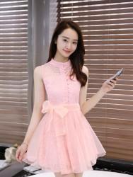DRESS WANITA BROKAT PINK LENGAN BUNTUNG 2017
